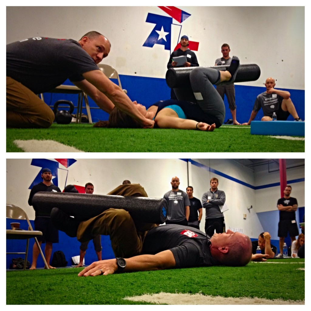 Tactile cueing for proper shoulder position during the trunk stability rotation.